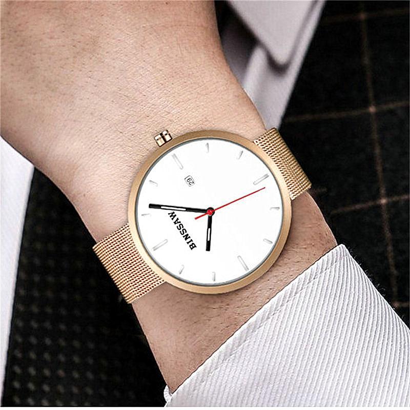 BINSSAW 2017 marca de lujo superior Amantes del oro correa de malla - Relojes para hombres - foto 4