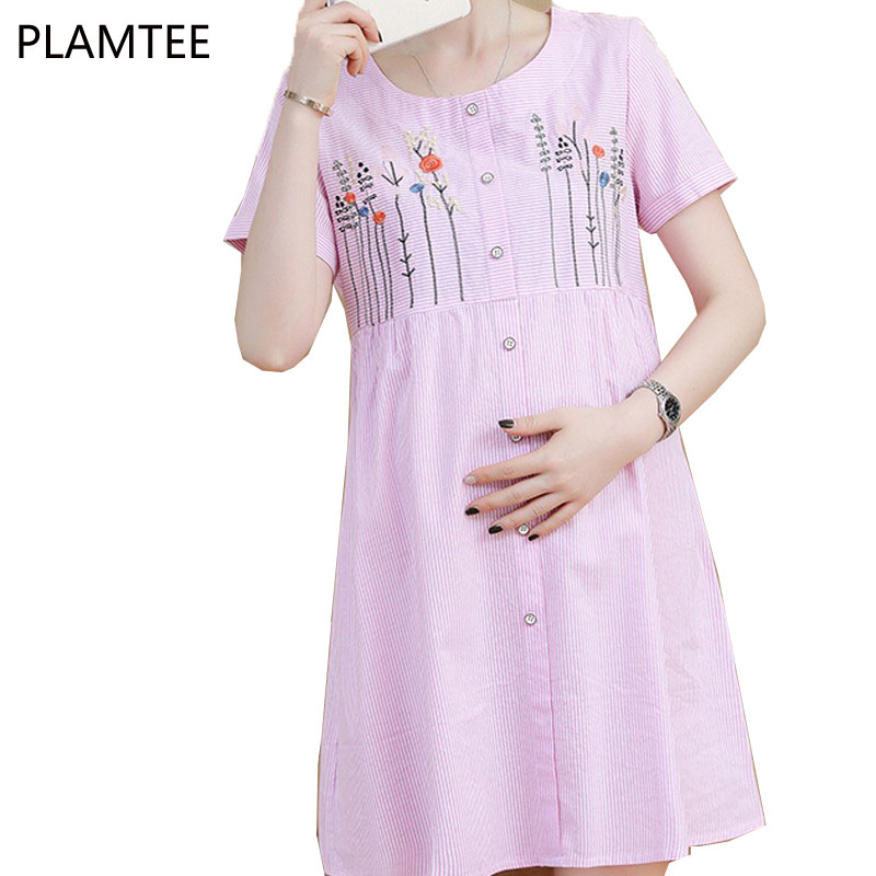 PLAMTEE Elegant Single-buttons Maternity Dresses Summer Flowers Embroidery Pregnancy Breast Feeding Clothing For Pregnant Dress