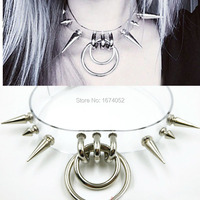 Mode fetisch schmuck 100% handgemachte choker klar pvc vinyl doppelkragen spikes versetzt transparent silber metall halskette