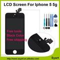 1 pcs Branco & Preto 5g lcd OEM No local qualidade AAA Display LCD com tela de toque digitador assembléia painel dom gratuito para iphone 5 5G