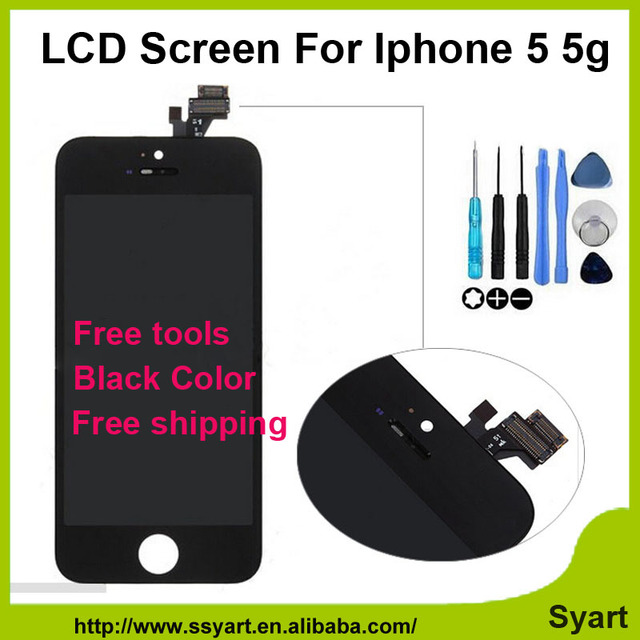 1pcs White&Black 5g lcd OEM No spot quality AAA LCD Display With Touch Screen Panel Digitizer Assembly free gift For iPhone 5 5G
