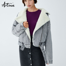 Artsnie Autumn 2018 Faux Fur Lined Denim Jackets Women Winter Turn Down Collar Sashes Casual Warm Thick Girls Coats Chaqueta