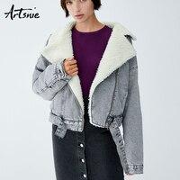 Artsnie Autumn 2018 Faux Fur Lined Denim Jackets Women Winter Turn Down Collar Sashes Casual Warm Thick Girls Coats Chaqueta