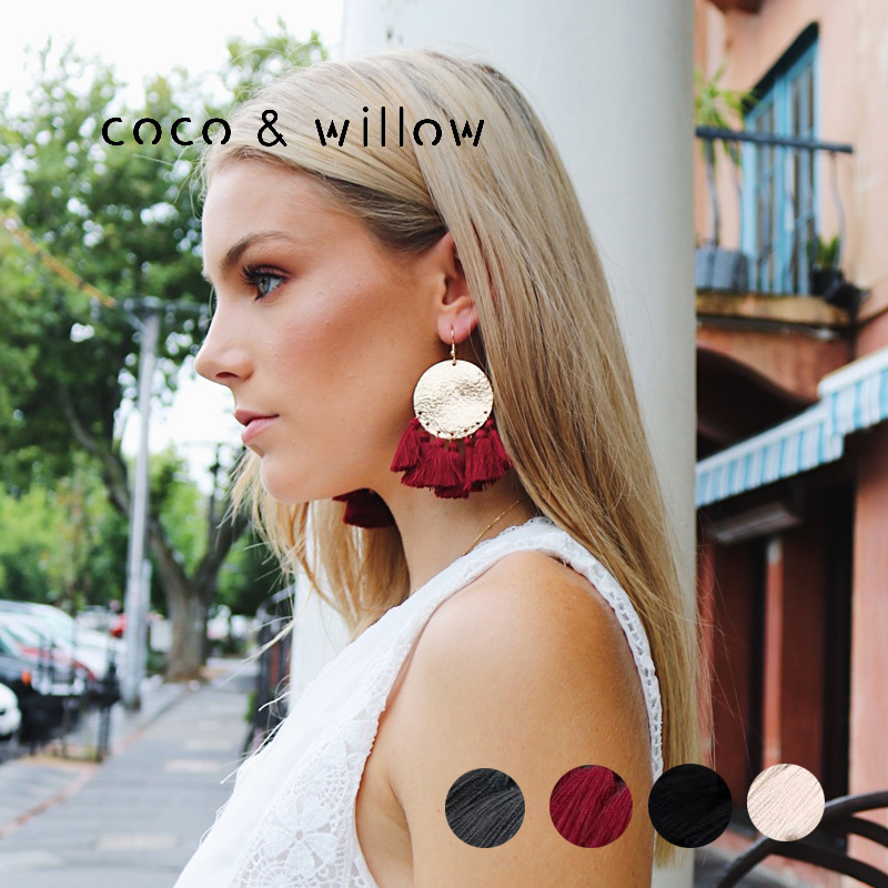 все цены на Coco&Willow Gold Metal Disc Tassel Fringe Earrings, statement drop tassel earring, bohemian style fashion jewelry for women