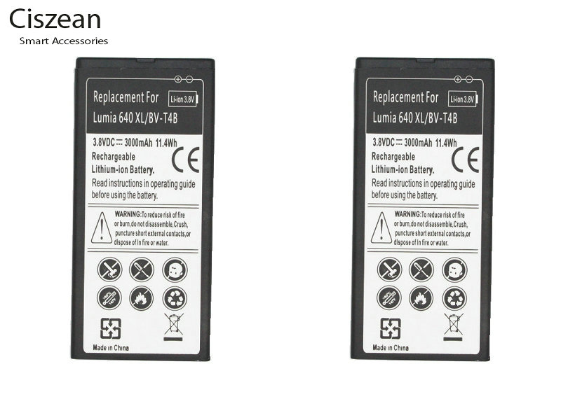 Ciszean 2x 3000mAh Replacement Battery BV T4B For Nokia