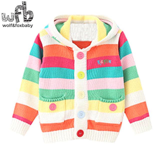 Venta al por menor 2-8 años de punto suéteres del arco iris de rayas abrigos bebé niños Ropa Ropa Infantil primavera otoño otoño