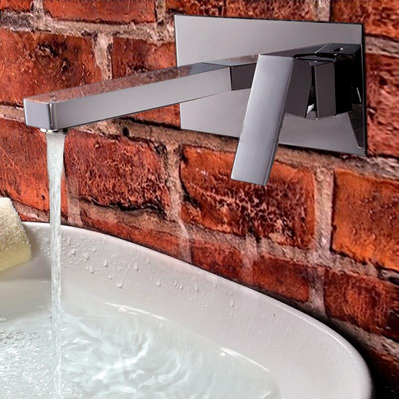 Contemporary Wall Mount Bathroom Sink Faucet (Chrome Finish) MPAZ029