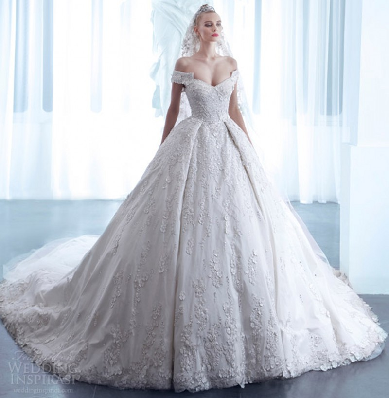 2016 Ball Gown Off Shoulder Wedding Dresses 2016 With Long