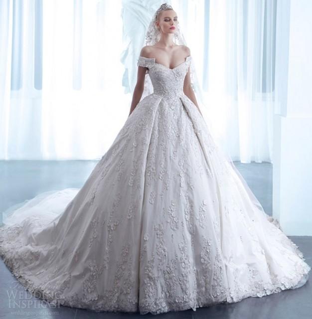 2016 ball gown off shoulder wedding dresses 2016 with long for Off the shoulder satin wedding dress
