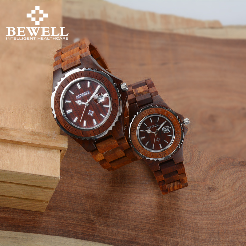 Wooden Lover Couple Watches Luxury Couple Clocks As Gift For Sweetheart Lovers Friends With Calendar Luminous Dual Watches 100BC