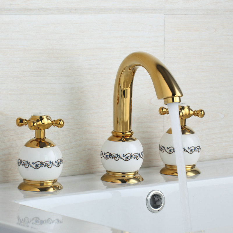 Ceramic Golden 3 Pieces Single Lever Swivel Spout Shower Bathroom Basin Sink Brass Bathtub Torneira Tap Mixer Faucet