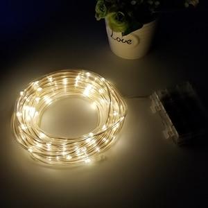 Image 5 - 10M 5M 100/50 LED batterie Seil Rohr Lichterketten Outdoor Garten Weihnachten Girlande Led Globus führte Streifen Fee licht Wasserdicht