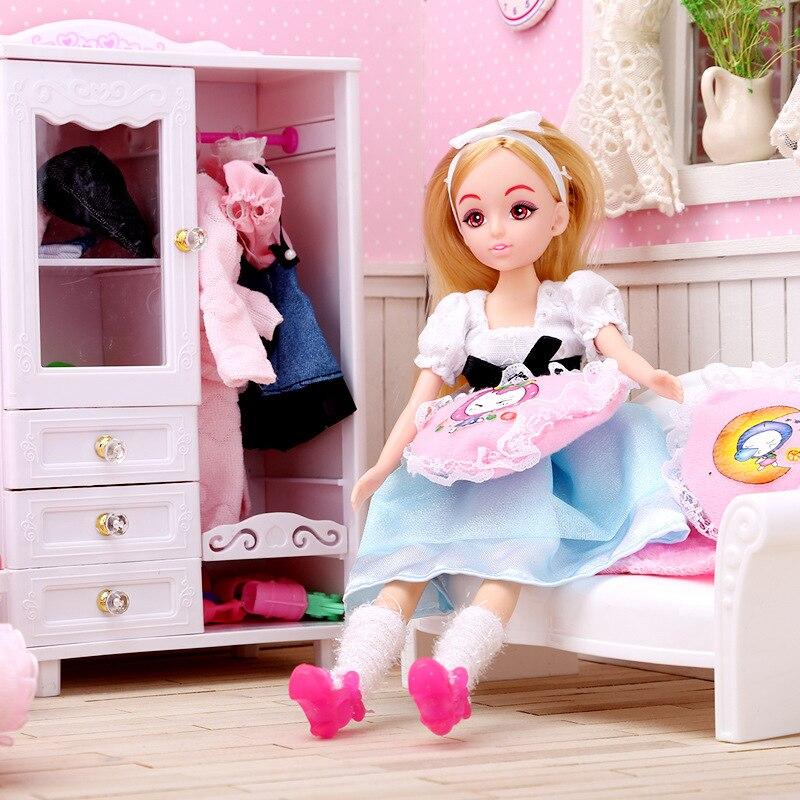 5-i-1 Super Miniatyr Sovrumsmöbler Kombination Dollhouse Toy - Dockor och tillbehör - Foto 4