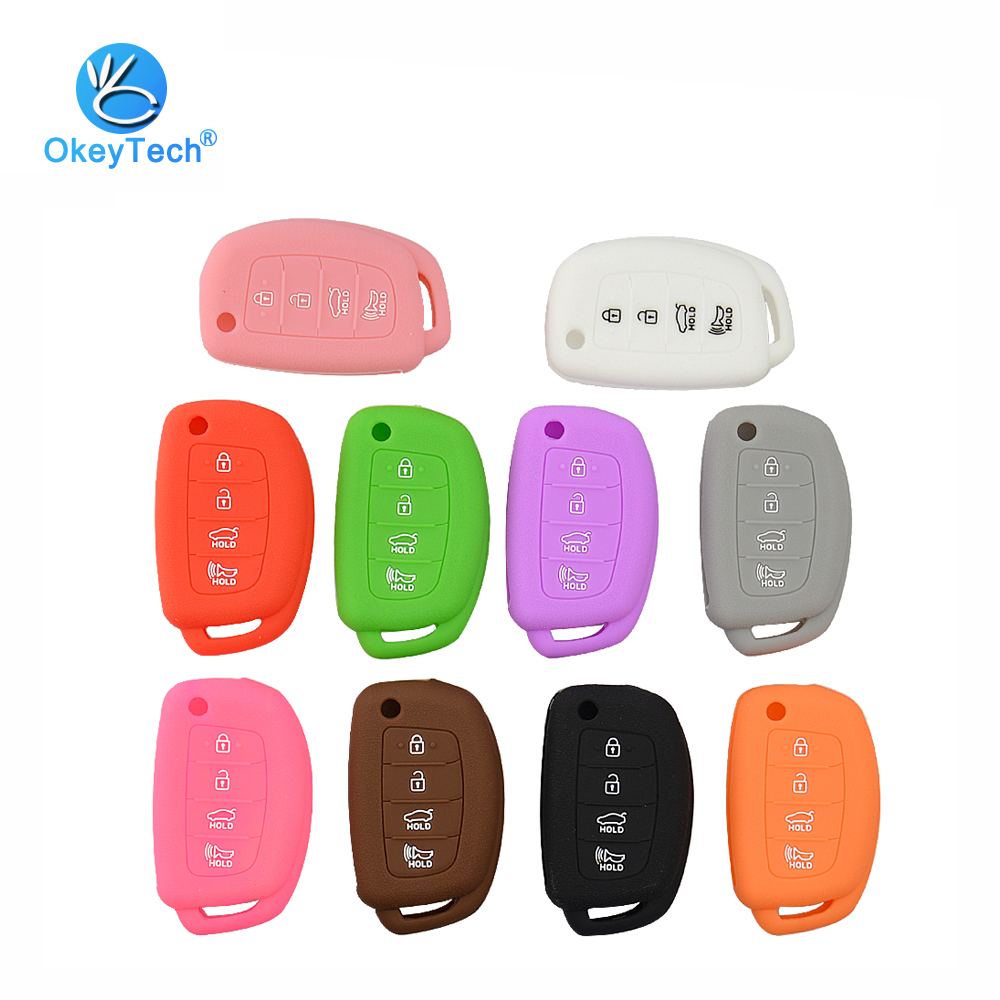 OkeyTech Silicone Case 4 Button Flip Folding Remote Key Rubber Cover Case Protector Fob for Hyundai Tuscon IX35 Mistra IX25 IX45 ...