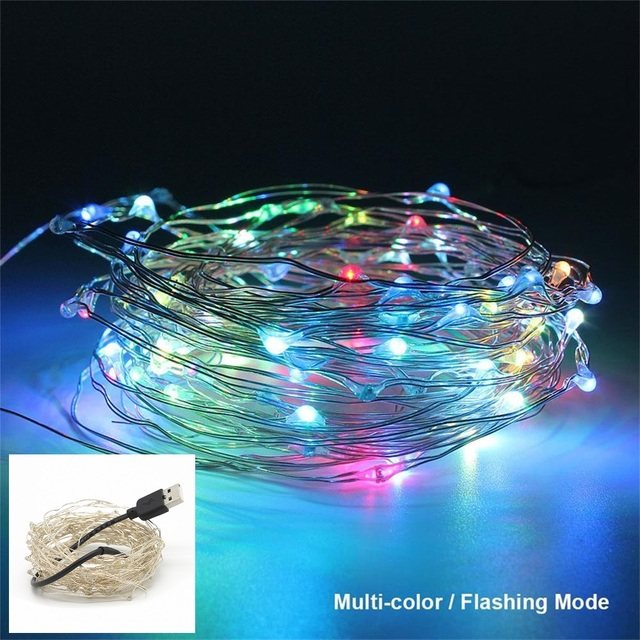USB Operated 10M 33ft Copper Wire LED String Lights Multicolor Flash ...