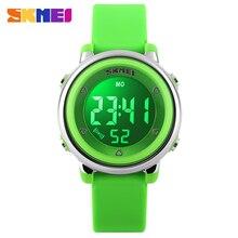 2017 nueva skmei marca popular niños niños moda deportes relojes led digital relojes de pulsera verde azul blanco negro correa de caucho