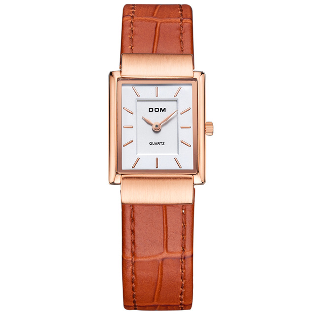 Women Leather Quart Watch Top Luxury Brand montre femme Casual Leather Quartz Ladies Wrist watches Dress Relogio Faminino dom watches women top brand luxury casual leather quartz watch female clock girl dress wrist relogio montre femme saati lp 205