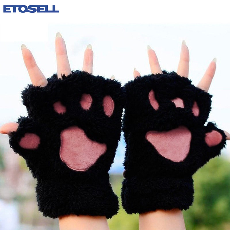New Arrival Women Cute Bear Cat Paw Fluffy Gloves Winter Warm Plush Half Finger Cosy Gloves Gift