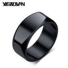 8mm Width Punk Geometry Men's Rings New 316L Stainless Steel Black Silver Rock Wedding Rings for Women Men Biker Jewelry Gifts wholesale high quality mens punk 316l stainless steel pentagram star rings for men biker finger rings rock jewelry us size 9 12