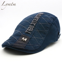 Lymtm  azul marino algodón Beret Inglaterra Retro bordado red Flat Visor  Cap ajustable masculino Boina hueso calidad 4844811b1d7