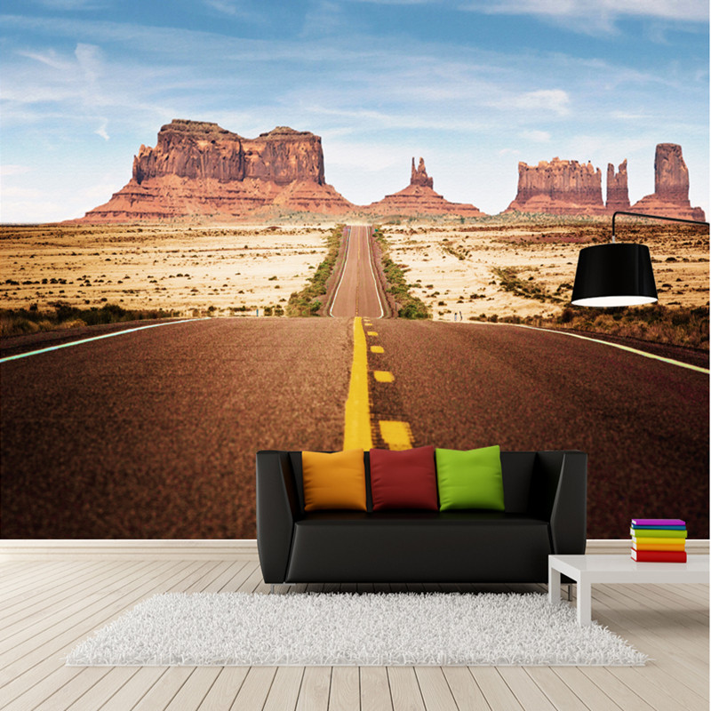 Custom 3D Room Photo Wallpaper Landscape Wall Murals for Living Room Highway Rock Canyon TV Wallpaper Roll 3D Wall Mural Scenery custom photo wallpaper 3d wall murals balloon shell seagull wallpapers landscape murals wall paper for living room 3d wall mural