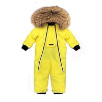 6M to 24M Russian Newborn Baby Girl Winter Overall Real Fur Down Romper Boy Infant Onesie Bebe Snowsuit Skisuit Kids Catsuit