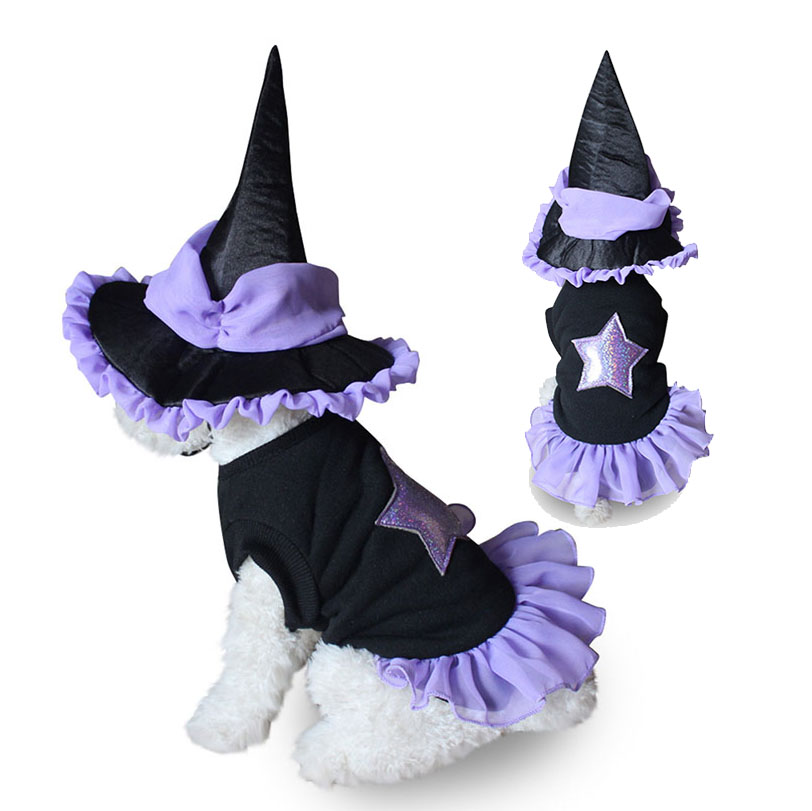 Funny Pet Party Costume Halloween Dog Vampire Wizard Suit for Small Dogs Cats Doggie Coat with Cute Hat Puppy Masquerade Clothes