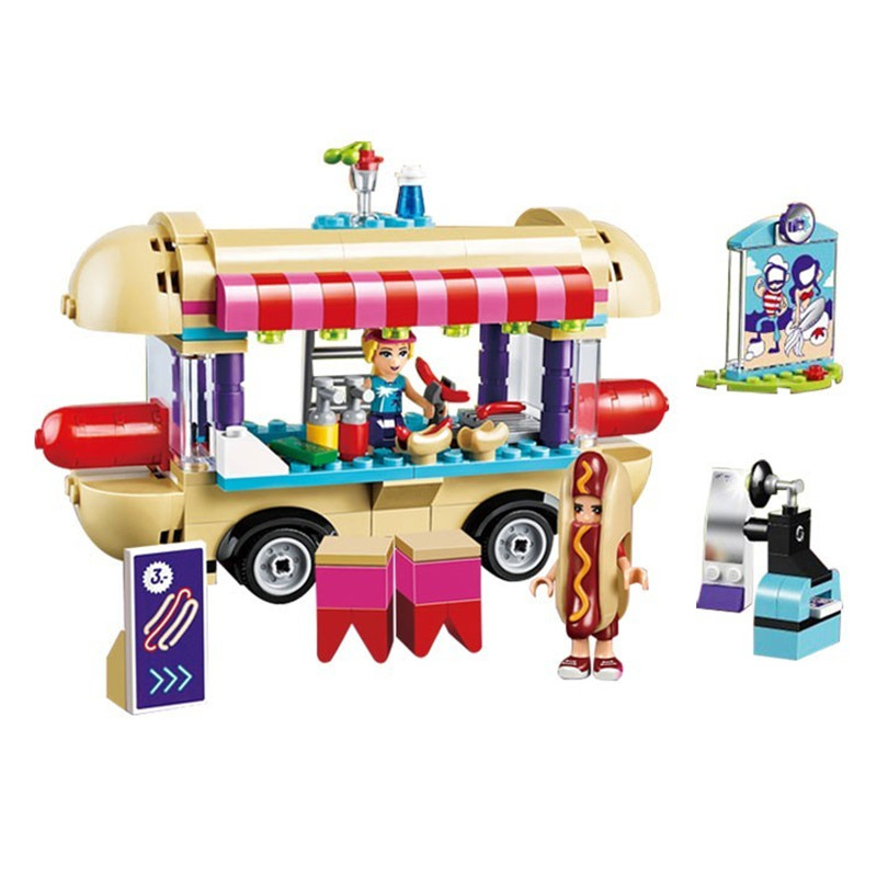 249pcs Diy construct Building Blocks Bricks Amusement Park Hot Dog Van Figure Compatible with playmobil Toys for Girls Children