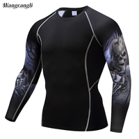 Wangcangli Long Sleeve Breathable Men S Sports 3d T Shirt Bodybuilding Tight Tee Compression Sportshirt Running