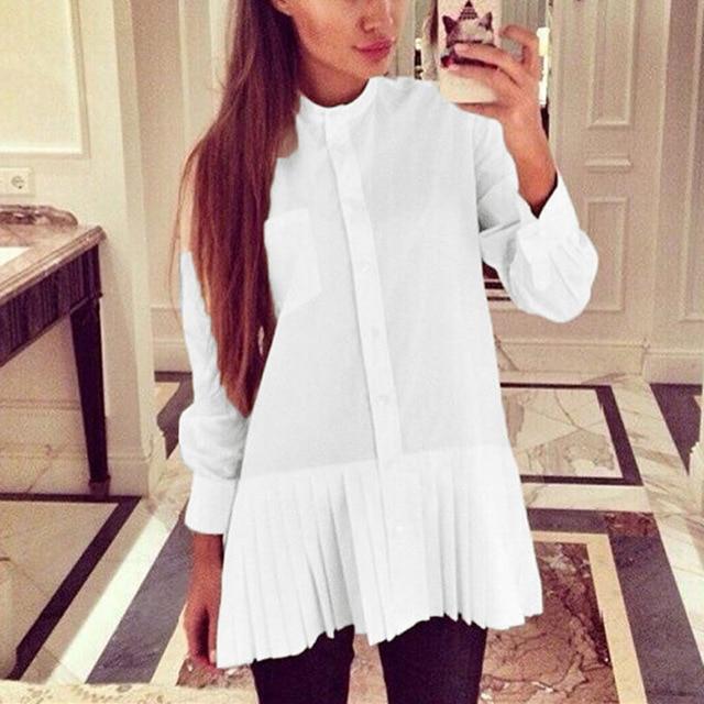 Women Solid Loose Blouses 2017 Autumn Ladies Long Sleeve Pleated Hem Casual Shirts Female Long Chiffon Tops Plus Size Blusas