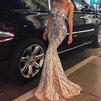 Sexy Gold/Navy Blue Sequin Backless Prom Dresses Mermaid 2020 Long Maxi Women Formal Evening Party Dress Cheap Vestidos de Noiva