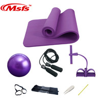 Yoga Mat Set 10mm Fitness Gym Yoga Ball Ballon Fitball Rope Skipping Pilates Ball Exercise Mat Yoga Set