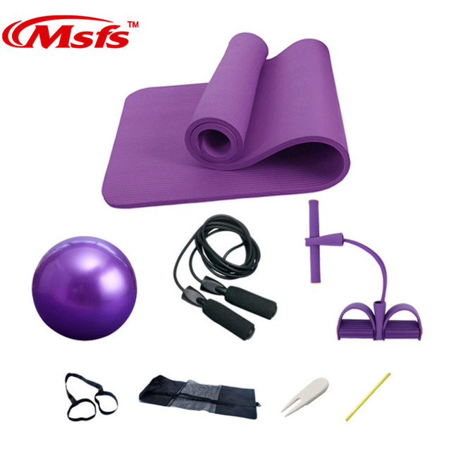 Yoga Mat Set 10mm Fitness Gym Yoga Ball Ballon Fitball Rope Skipping Pilates Ball Exercise Mat Yoga Set