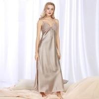 Cozy Nightie Sleepwear Sexy Ladies Nightdress Silk Pajamas for Women's Pijama Sexy Nightgown Long Skirt Pleasurements Lingerie