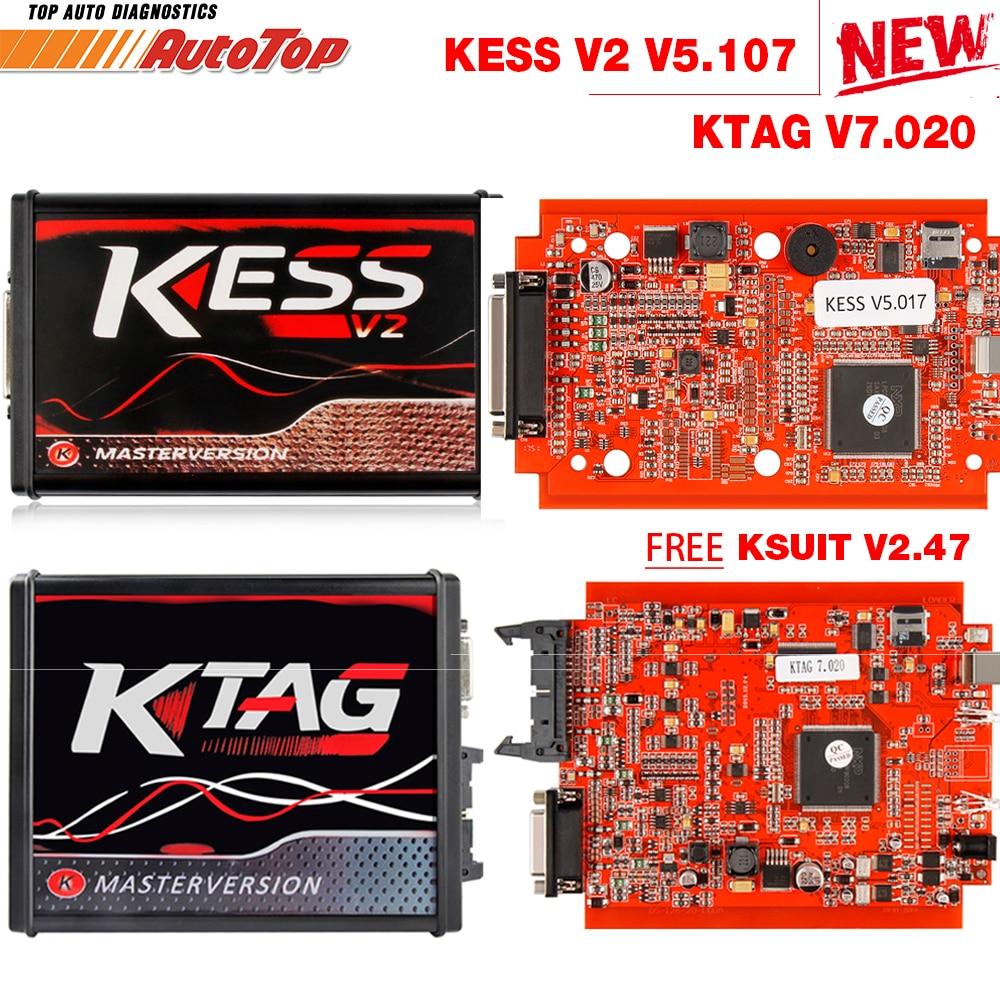 2018 Kess V2 V5.017 OBD2 Manager Tuning Kit KTAG V7.020 4 LED Kess V2 5,017 BDM Rahmen K-TAG 7,020 ECU programmierer KESS V2 Master