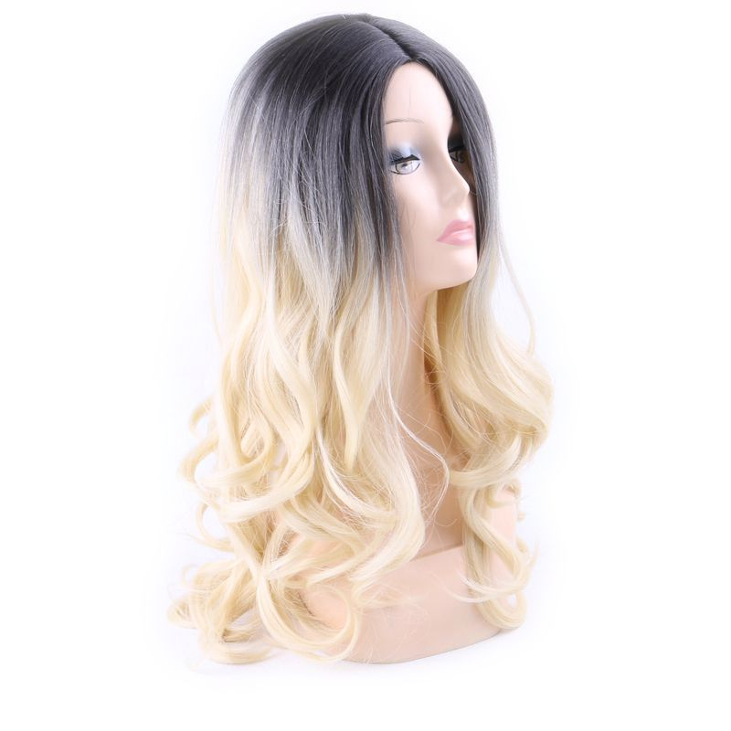 Luxury For Braiding 26 Ombre Blonde T2/613 Wavy 100% Kanekalon Futura Heat Resistant Synthetic None Lace Frontal Wigs
