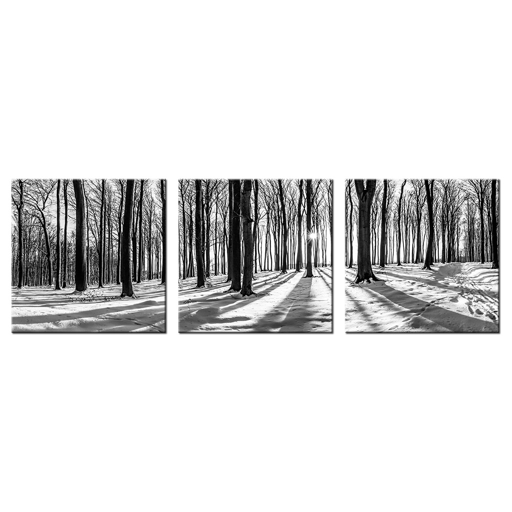 3 Piece Wall Art Giclee Landscape Canvas Prints Black And White Sunrise Poplar Forest Wall Mural