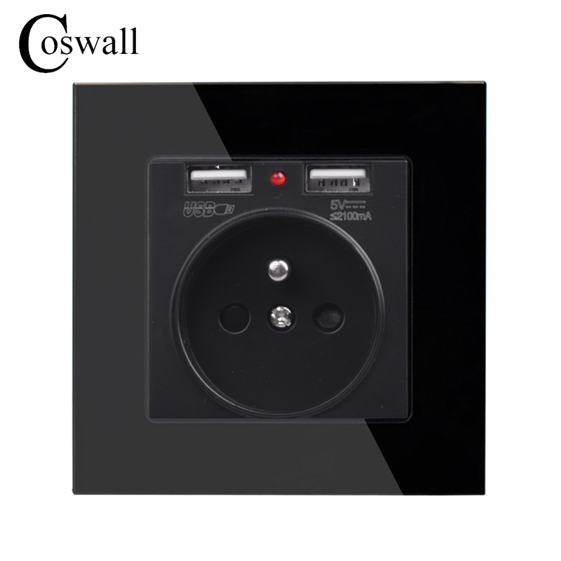 Coswall Crystal Glass Panel Dual USB Charge Port 2.1A Wall Charger Adapter LED Indicator 16A French Power Socket Black ColorCoswall Crystal Glass Panel Dual USB Charge Port 2.1A Wall Charger Adapter LED Indicator 16A French Power Socket Black Color