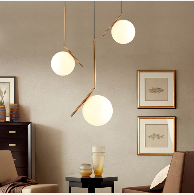 Modern Minimalist Art Deco Pendant Lights Ball Glass Shade Globe Led Hanging  Lamp For Living Room