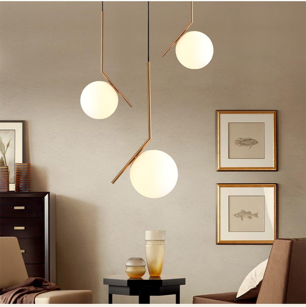 Moderne minimaliste art déco luminaires suspendus à billes en verre ombre globe led lampe suspendue pour