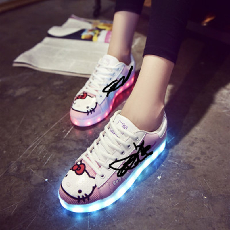 Children USB Rechargeable LED Lamp Shoes Girls Hello Kitty Shell Shoes Parent Child Board Kids Casual