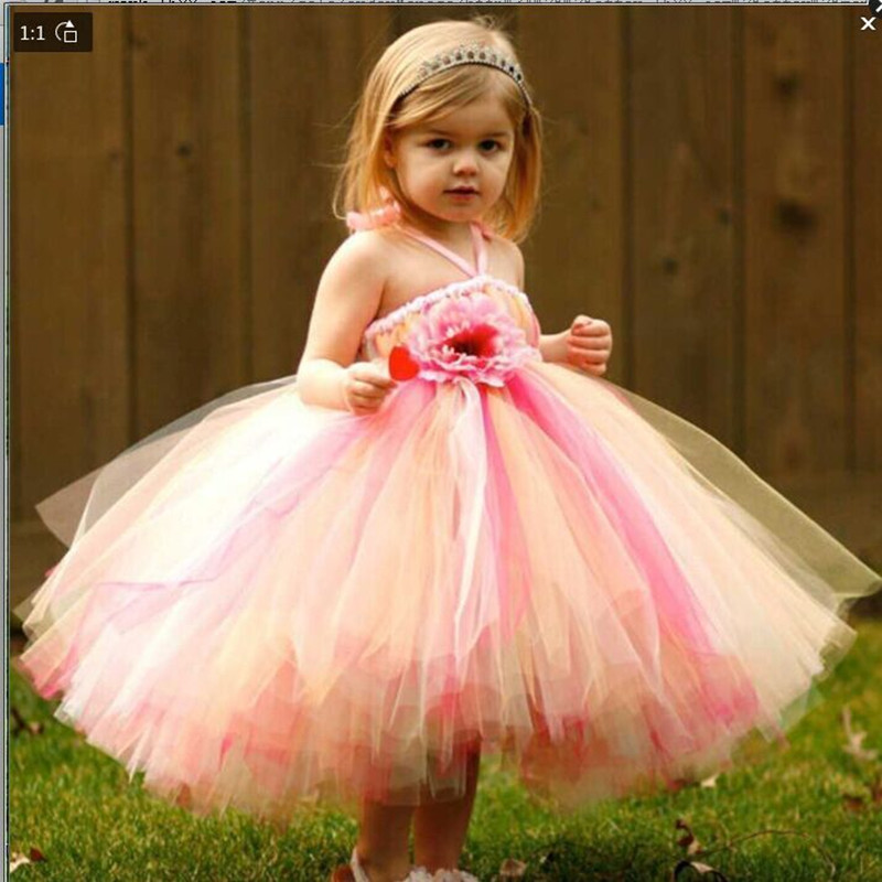 все цены на Princess Girl Party Dresses 2017 Elegant Colorful V-Neck design Special Occasion Girls Tutu Prom Dress for Wedding and Party онлайн
