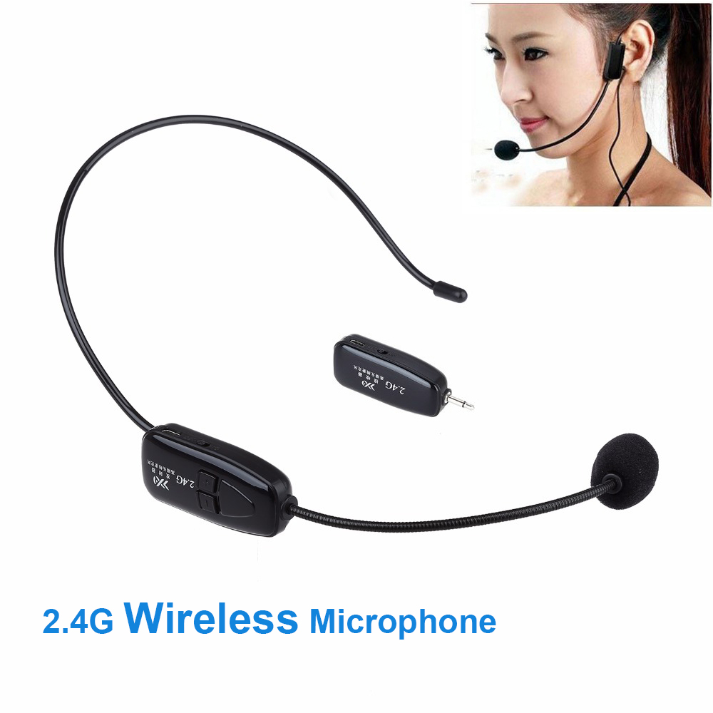 2 in 1 Handheld Portable 2.4G Mini Wireless Microphone Headset MIC Headphone With 3.5mm Plug Receiver