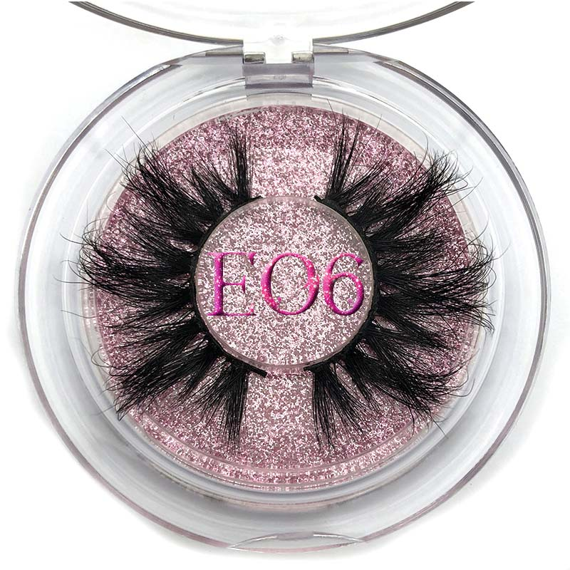 Mikiwi 25mm Mink Lashes False Eyelashes E06 Thick Strip 25mm 3D Mink Lashes Crossing Makeup Dramatic Long 25MM Mink Lashes
