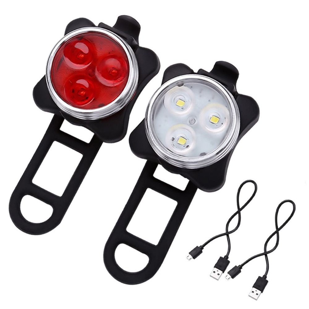 1Set USB Rechargeable Led <font><b>Bike</b></font> <font><b>Light</b></font> Super Bright Front Headlight and tail <font><b>light</b></font> for Bicycle Safety Warning Lamp <font><b>Red</b></font> <font><b>White</b></font> Color image
