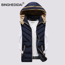 Mens hooded vest extremely light-weight jacket puffer sleeveless jacket quilted trend winter puffer vest males heat cotton-padded
