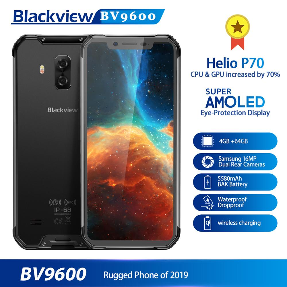 2019 New Blackview BV9600 Rugged Smartphone Android 9.0 4GB+64GB Waterproof Mobile Phone Helio P70 6.21 19:9 AMOLED 5580mAh