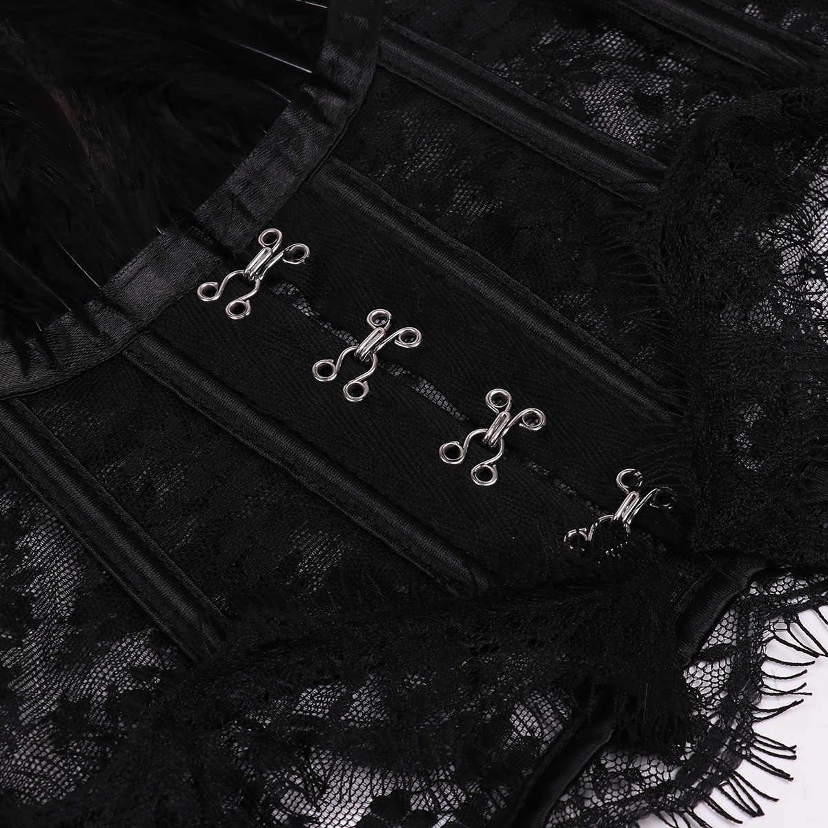 Le donne Punk Gotico falso Del Collare Della Piuma Del Capo Spalla Del Merletto Bolero Giacca Scrollata di Spalle Magliette e camicette Retro Vintage Halloween Goth Rave Costumi