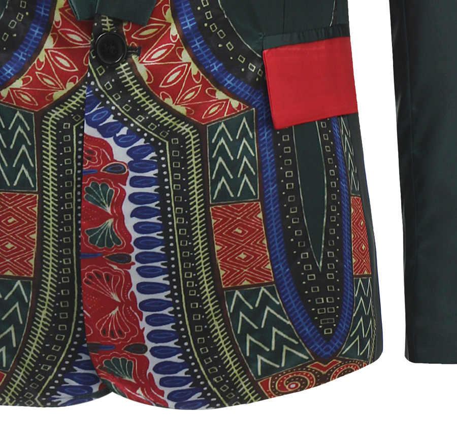 アフリカdashikiブレザージャケット男性2018ブランドの新しいシングルブレストワンボタンメンズスーツジャケットファッションショールラペルブレザーオム
