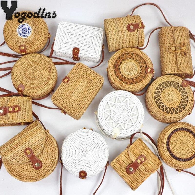 Hot Handmade Round Shoulder Bag Bali Circle Straw Women Bags Summer Hand-Woven Rattan Handbags Girls Messenger Bags INS Popular